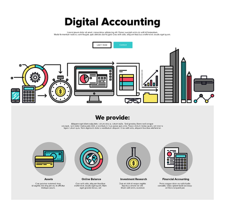 financial audit: One page web design template with thin line icons of digital accounting service, investment research, business data market analysis. Flat design graphic hero image concept, website elements layout. Illustration