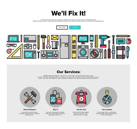 전기 수리 서비스의 얇은 선 아이콘 한 페이지 웹 디자인 템플릿, 가전 제품은 수정하고 전문적인 업데이트. 플랫 디자인 그래픽 영웅 이미지 개념, 웹