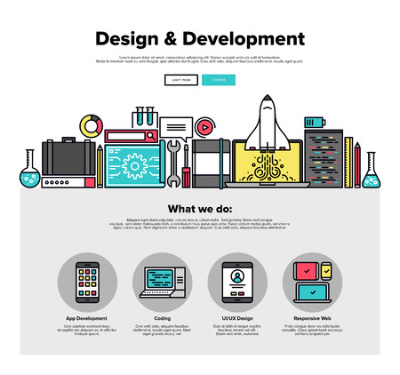One page web design template with thin line icons of development services by design studio. UI and UX for web, app coding and more. Flat design graphic hero image concept, website elements layout. Иллюстрация