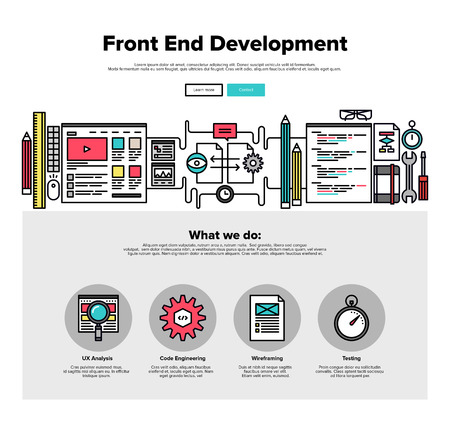 development: One page web design template with thin line icons of front-end development of client web software, application programming and testing. Flat design graphic hero image concept, website elements layout.