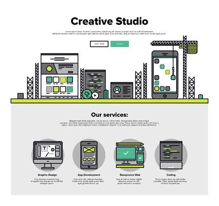 Einer Seite Web Design-Vorlage mit dünnen Linie Ikonen der Kreativ-Studio-Dienste wie Web-Codierung für ansprechende Design und die App-Entwicklung. Flache Design Grafik-Helden Konzept Bild, die Elemente der Website-Layout.