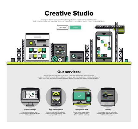 web development: One page web design template with thin line icons of creative studio services like web coding for responsive design and app development. Flat design graphic hero image concept, website elements layout.
