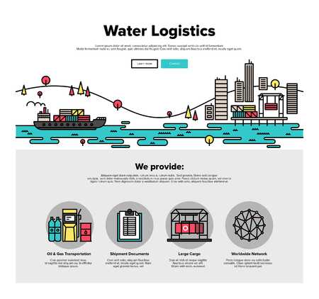 Egy oldalon sablont vékony vonal ikonok teherszállító kiszállítással a víz, a tengeri szállítás a szállítás, az export logisztikai irányítást. Lapos tervezés grafikai hős arculat, website elemek elrendezését.