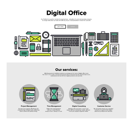 the project: One page web design template with thin line icons of digital office, project management service, business solution platform for startup. Flat design graphic hero image concept, website elements layout.