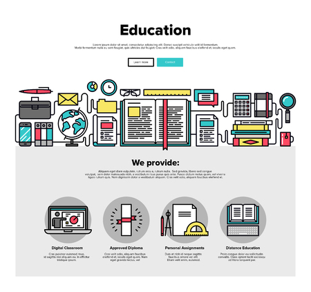 content: One page web design template with thin line icons of internet education, training material study, reading online book, back in school. Flat design graphic hero image concept, website elements layout. Illustration