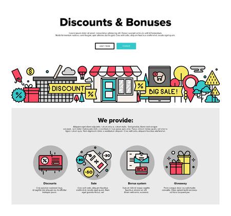 Einer Seite Web Design-Vorlage mit dünnen Linie Ikonen der Online-Shopping-Rabatt und Preisbonussystem, biete großen Umsatz aus verschiedenen Laden. Flache Design Grafik-Helden Konzept Bild, die Elemente der Website-Layout.
