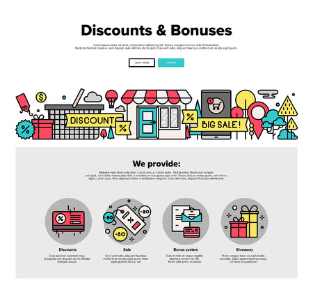 discount card: One page web design template with thin line icons of online shopping discount and price bonus system, big sales offer from various store. Flat design graphic hero image concept, website elements layout.