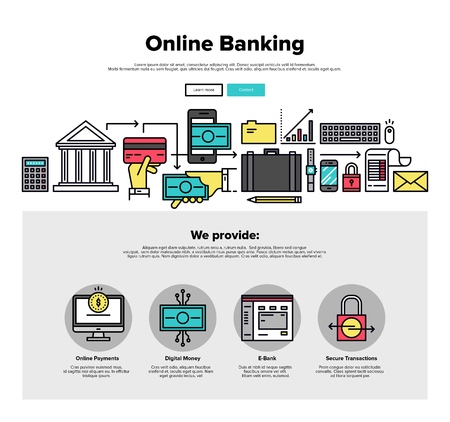 mobile banking: One page web design template with thin line icons of online bank services, internet banking operations, secure payment transactions. Flat design graphic hero image concept, website elements layout.