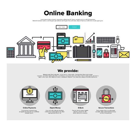 contabilidad: Una página de la plantilla de diseño web con iconos de líneas delgadas de los servicios bancarios en línea, operaciones de banca por Internet, transacciones de pago seguras. Diseño plano héroe gráfico concepto de imagen, diseño de elementos del sitio web.