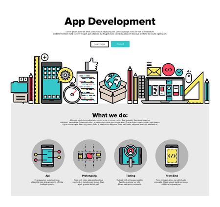 Um modelo de página web design com ícones fina linha de desenvolvimento de aplicativos móveis, software de prototipagem e testes de API para smartphone. Design plano herói gráfico conceito de imagem, layout de elementos do site. Ilustração