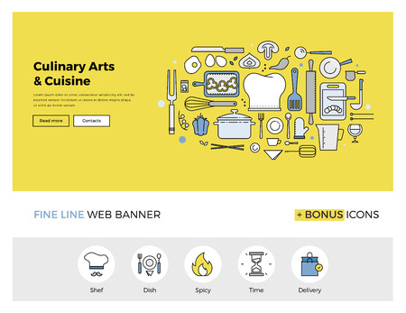 Flat line design of web banner template with outline icons of master class for culinary art cooking process, gourmet cuisine by chef. Modern vector illustration concept for website or infographics.