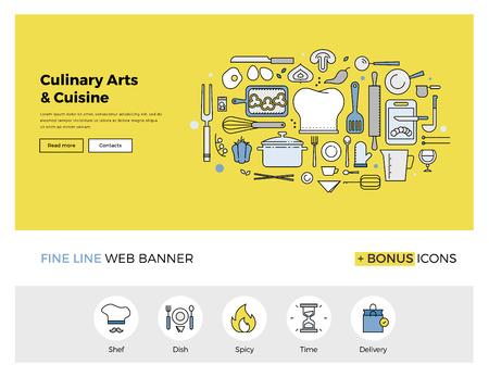 jefe de cocina: Diseño de la línea plana de la plantilla de banner web con iconos de esquema de clase magistral para culinaria proceso de cocción arte, cocina gourmet del chef. Moderno concepto de ilustración vectorial para el sitio web o la infografía. Vectores