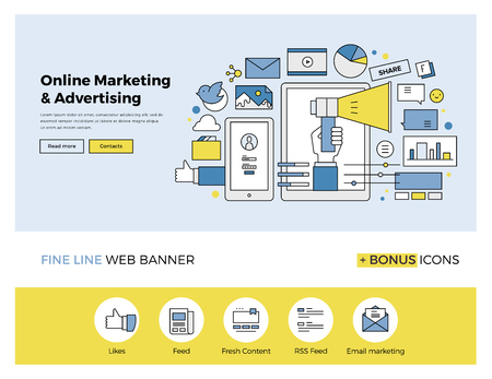 Design de linha fixa de modelo de web banner com ícones esboço de promoção marketing on-line, pesquisa de publicidade digital, campanha SMM. Modern ilustração vetorial conceito para o site ou infográficos.