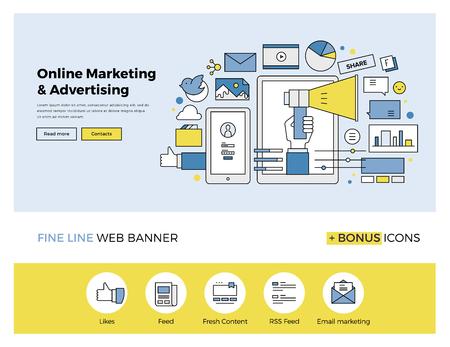 Płaska linia internetowej banner szablon z ikon zarys promocji online marketingu, reklamy, badań cyfrowej kampanii SMM. Nowoczesne ilustracji wektorowych koncepcja strony internetowej lub infografiki.