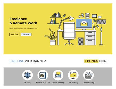 Diseño plano línea de la plantilla de banner web con iconos esquema de freelance negocio y externalizar el servicio de trabajo, espacio de co-trabajo remoto. Moderno concepto de ilustración vectorial para el sitio web o la infografía.