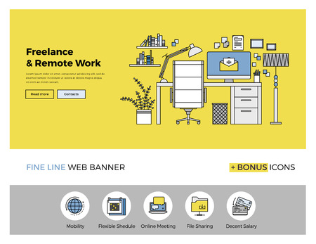 Flat line design of web banner template with outline icons of business freelance and outsource working service, remote co-working space. Modern vector illustration concept for website or infographics. Vectores