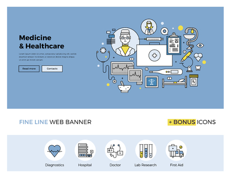 Flat line design of web banner template with outline icons of emergency medical services, hospitality in clinic, professional medicine. Modern vector illustration concept for website or infographics. Иллюстрация