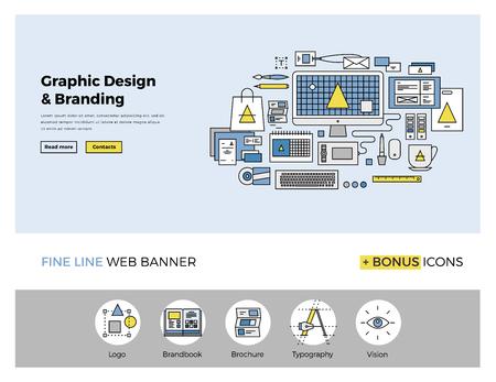 Design de linha fixa de modelo de web banner com ícones esboço de serviços de agências de gráficos digitais para a visão da empresa e desenvolvimento de marca. Modern ilustração vetorial conceito para o site ou infográficos.