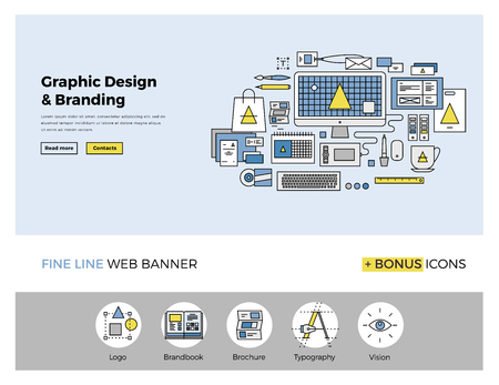 Flat line design of web banner template with outline icons of digital agency graphics services for company vision and brand development. Modern vector illustration concept for website or infographics. Ilustracja