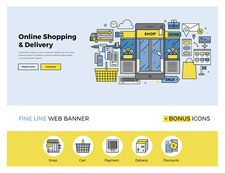 Flat line design of web banner template with outline icons of online shopping on mobile phone, purchasing goods on smartphone screen. Modern vector illustration concept for website or infographics. Vectores