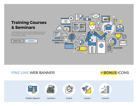 개요 비즈니스 멘토 교육 과정의 아이콘, 온라인 세미나, 인터넷 워크샵 서비스와 웹 배너 서식의 평면 라인 디자인. 웹 사이트 또는 infographics입니다