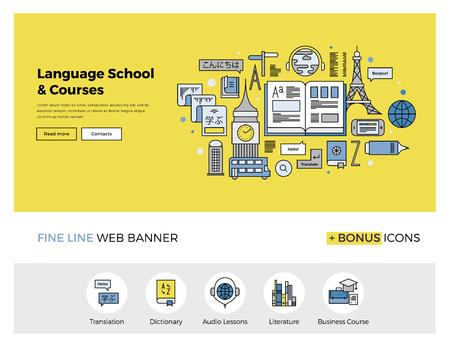 外国語翻訳サービス、英語コースのオンライン学校の概要アイコンと web バナー テンプレートのフラット ライン デザイン。インフォ グラフィック