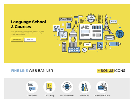in english: Flat line design of web banner template with outline icons of foreign language translation service, online school of English course. Modern vector illustration concept for website or infographics. Illustration