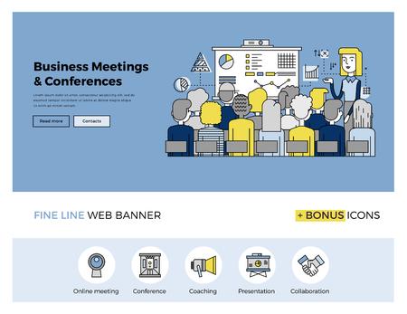 Design de linha fixa de modelo de web banner com ícones esboço de formação de pessoas de negócios, conferência incorporada, apresentação reunião de vendas. Modern ilustração vetorial conceito para o site ou infográficos.