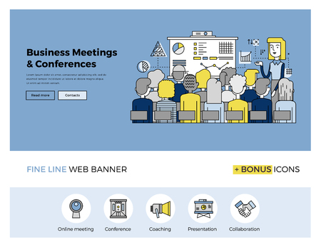 Flat line design of web banner template with outline icons of business people training, corporate conference, sales meeting presentation. Modern vector illustration concept for website or infographics. Vettoriali