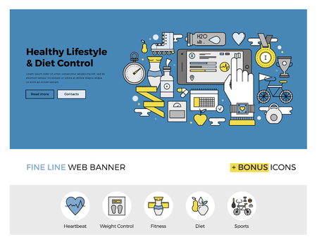 gadget: Flat line design of web banner template with outline icons of healthy lifestyle and diet control monitoring with mobile phone application. Modern vector illustration concept for website or infographics.