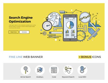 検索エンジン最適化サービス、SEO のデータ分析とキーワードの概要アイコンと web バナー テンプレートのフラット ライン設計プロセスします。イン