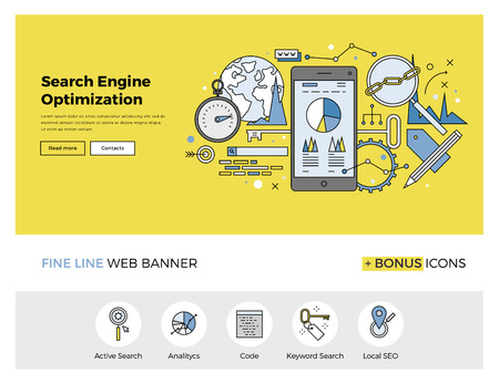 icons site search: Flat line design of web banner template with outline icons of search engine optimization service, SEO data analytics and keyword process. Modern vector illustration concept for website or infographics.