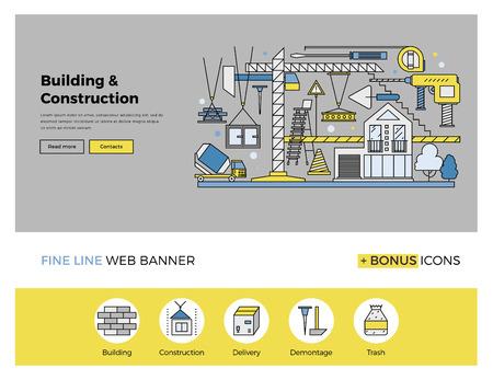 siderurgia: Diseño de la línea plana de la plantilla de banner web con iconos esquema de proceso de la construcción industria de la construcción, urbano progreso del trabajo de arquitectura. Moderno concepto de ilustración vectorial para el sitio web o la infografía.