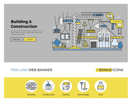 housing industry: Flat line design of web banner template with outline icons of building industry construction process, urban architecture work progress. Modern vector illustration concept for website or infographics.