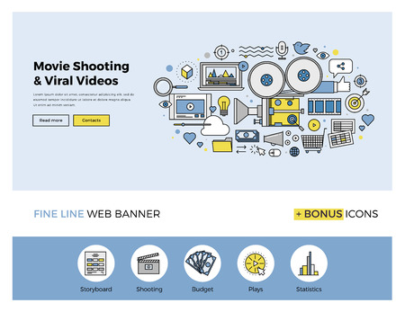 movie: Flat line design of web banner template with outline icons of viral video marketing, movie shooting, professional TV studio production. Modern vector illustration concept for website or infographics. Illustration