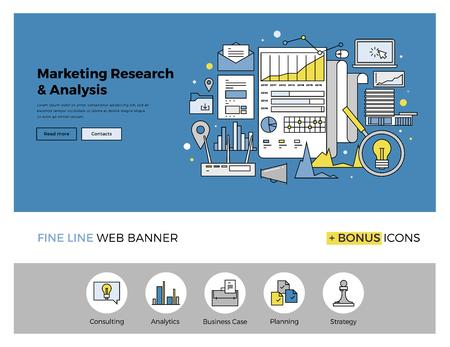 auditoría: Diseño de la línea plana de la plantilla de banner web con iconos de esquema de la estrategia de investigación de mercados, análisis de negocios web, análisis de datos financieros. Moderno concepto de ilustración vectorial para el sitio web o la infografía.