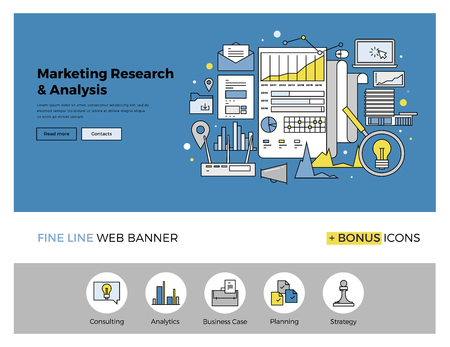 web marketing: Flat line design of web banner template with outline icons of marketing research strategy, web business analytics, finance data analysis. Modern vector illustration concept for website or infographics.