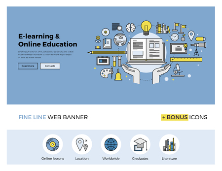 education: Flat line design of web banner template with outline icons of online education, internet study course, video lessons, distance learning. Modern vector illustration concept for website or infographics.