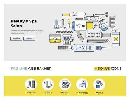 productos de belleza: Diseño de la línea plana de la plantilla de banner web con iconos esquema de servicios de salón de belleza profesionales, accesorios de maquillaje y spa cuidado del cuerpo. Moderno concepto de ilustración vectorial para el sitio web o la infografía. Vectores