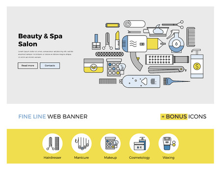 spa salon: Flat line design of web banner template with outline icons of professional beauty salon services, makeup accessories and spa body care. Modern vector illustration concept for website or infographics.