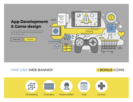 Flat line design of web banner template with outline icons of software application development, mobile OS game programming and testing. Modern vector illustration concept for website or infographics.