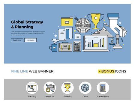 mision: Dise�o de la l�nea plana de la plantilla de banner web con iconos de esquema de la estrategia global de negocios, planificaci�n de mercado �xito y misi�n corporativa. Moderno concepto de ilustraci�n vectorial para el sitio web o la infograf�a.