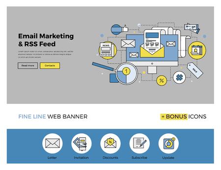 redes de mercadeo: Diseño de la línea plana de la plantilla de banner web con iconos esquema de e-mail sistema de servicios de marketing, suscríbase lista de correo para las actualizaciones diarias. Moderno concepto de ilustración vectorial para el sitio web o la infografía.