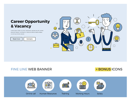 Flat line design of web banner template with outline icons of business people career opportunity, human resource hiring best candidate. Modern vector illustration concept for website or infographics.