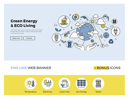Flat line design of web banner template with outline icons of clean technology for green energy, saving planet, ecology care living. Modern vector illustration concept for website or infographics. Иллюстрация