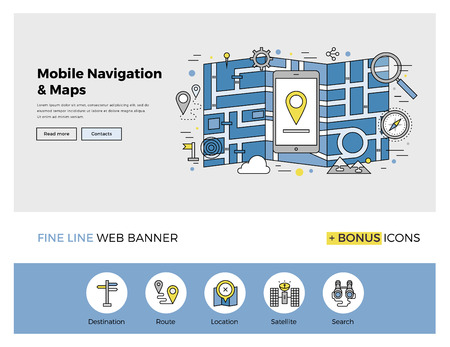 geolocation: Flat line design of web banner template with outline icons of mobile navigation GPS system, tracking map location and find the right way. Modern vector illustration concept for website or infographics.