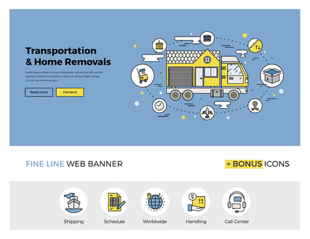 moving company: Flat line design of web banner template with outline icons of home relocation service, worldwide transportation assistance, moving house. Modern vector illustration concept for website or infographics.