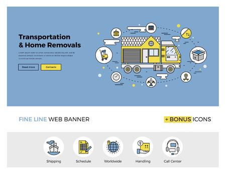 Progettazione linea piatta di banner web modello con contorno icone del servizio traslochi casa, assistenza per il trasporto in tutto il mondo, trasloco. Moderno concetto di illustrazione vettoriale per sito web o infografica. Vettoriali