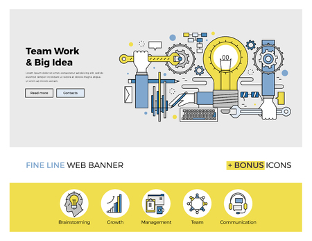 Flat line design of web banner template with outline icons of team work management on big idea, people organization of startup process. Modern vector illustration concept for website or infographics. Vectores
