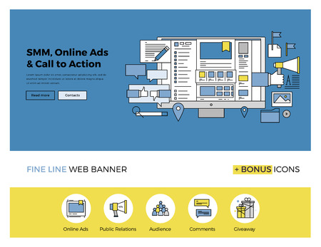 Flat line design of web banner template with outline icons of social media marketing solution, online advertising for brand promotion. Modern vector illustration concept for website or infographics. Illustration